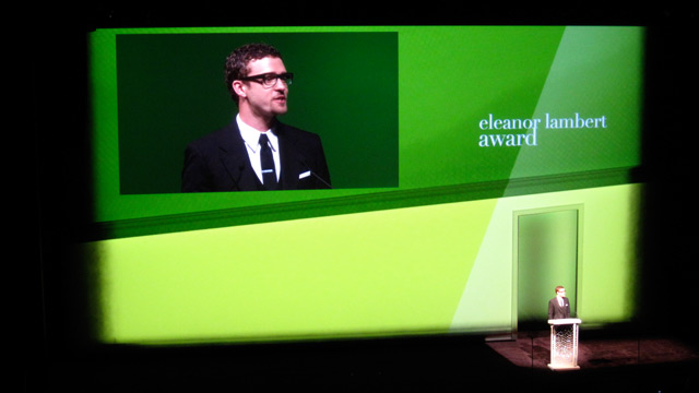 Justin Timberlake presenting the Eleanor Lambert award