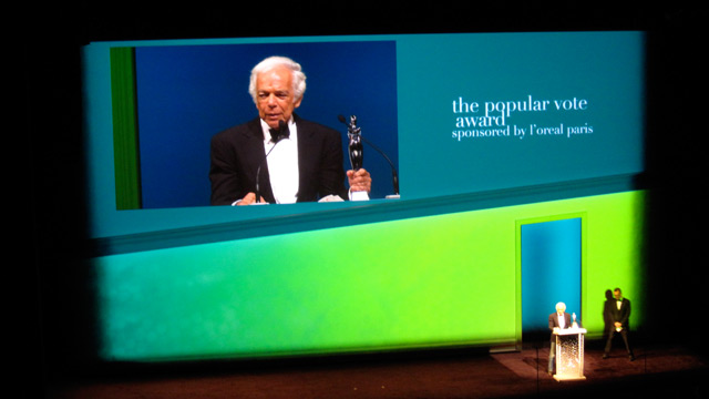 Ralph Lauren accepting the Popular Vote award