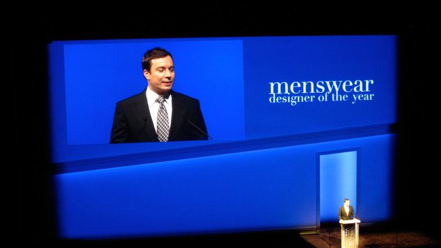 Jimmy Fallon, announcer for Menswear of the Year award