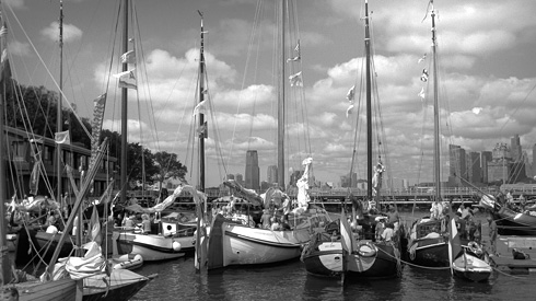 Pennants and masts in the harbor at Governor's Island