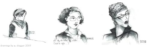 three drawings of people at the bar