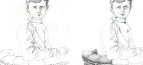 Pencil drawing of a boy, process