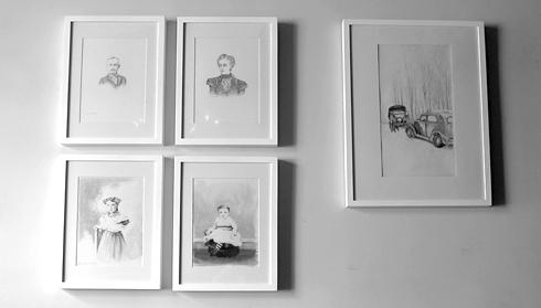 Cabinet card portrait drawings by E Daggar at Total Wine Bar, Brooklyn.