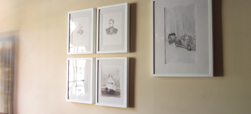 Cabinet card portrait drawings by E Daggar at Total Wine Bar in Brooklyn