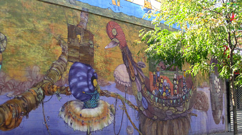 Os Gemeos mural in Coney Island, Stillwell Ave