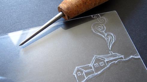 drypoint on plxiglas, etching needle