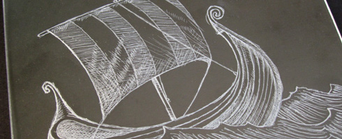 drypoint on plexiglas- lizzie's viking ship
