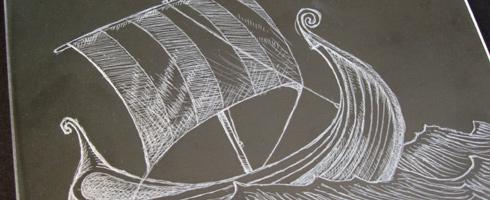drypoint on plexiglas- lizzie's viking ship