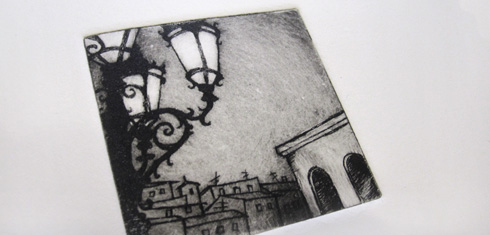 At the Palazzo Pitti, Florence, drypoint print