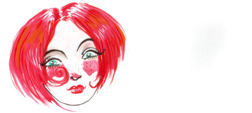 watercolor sketch of a red-haired girl