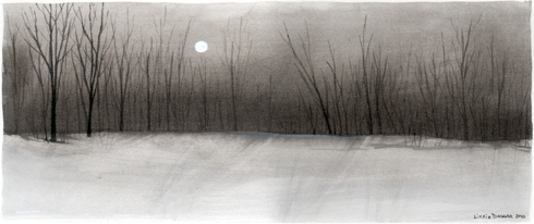 watercolor, ink, ink wash, snowscape with trees