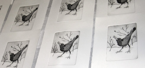 printmaking, drypoint print of crow