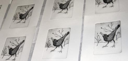 printmaking, drypoint print of crow