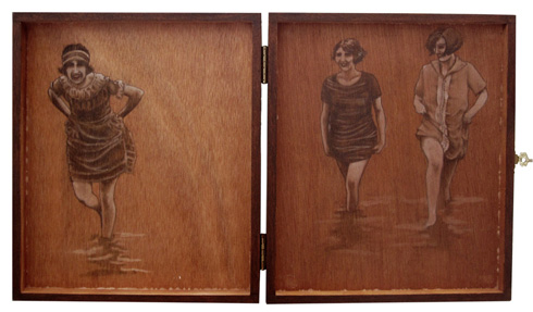The Bathers: graphite & oil on wooden cigar box