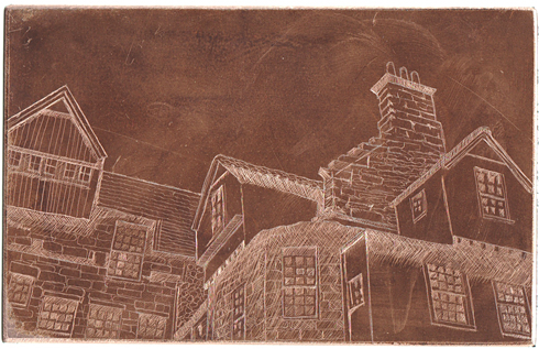 copper plate with hard ground and lines