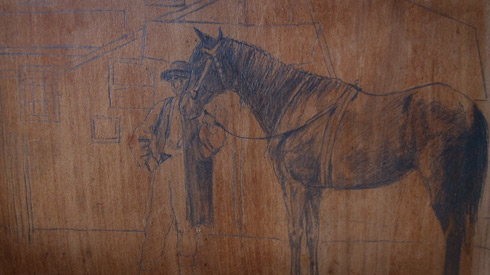 man with horse painting on panel; sketch phase