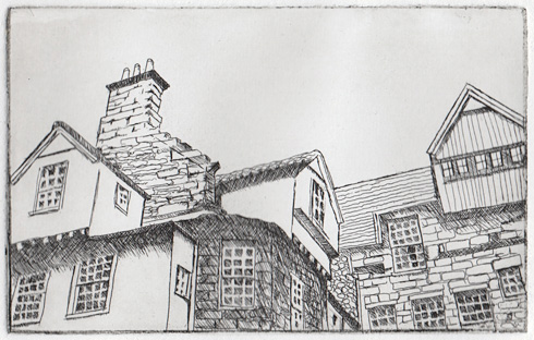 first proof line etching, Edinburgh rooftops