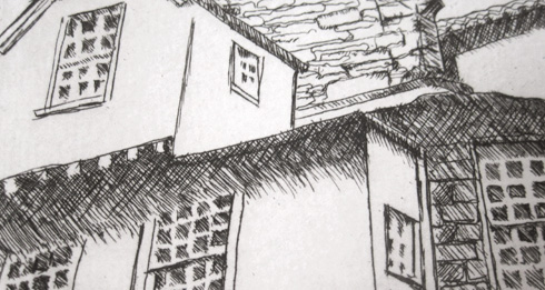 line etching first proof- close up of Edinburgh rooftops