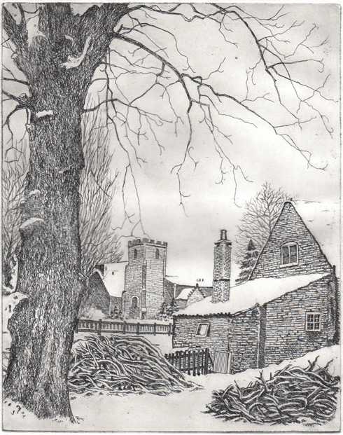 Tree and house in snow etching– first proof