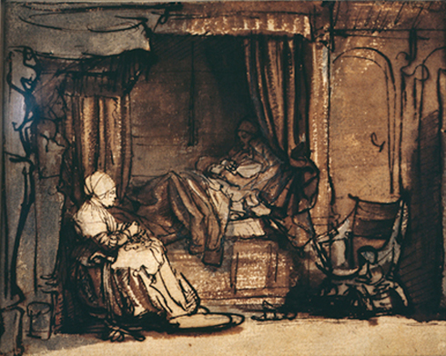 Interior with Saskia in bed by Rembrandt