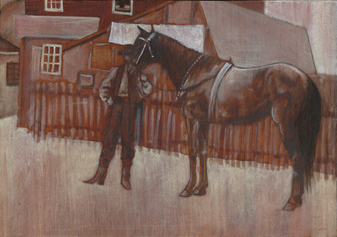 Man about a horse; graphite and oil on wood panel