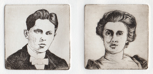 portraits; line etching proof