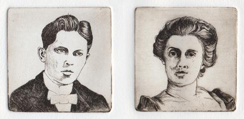 portraits; line etching proof
