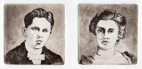 portrait line etchings with spit-bite aquatint