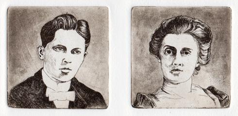 portrait line etchings with spit-bite aquatint