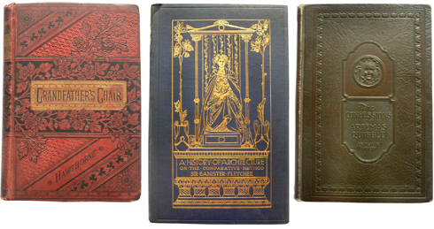 three old books with fine binding