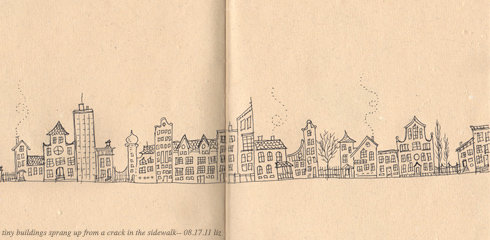 tiny, ink-rendered buildings