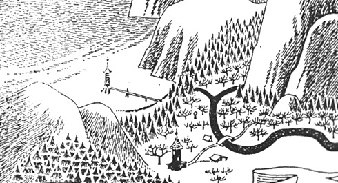 segment of 'A Map of Moominvalley' by Tove Jansson