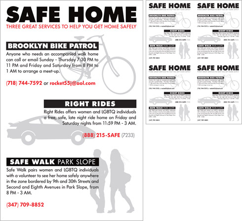 Safe Home poster and fliers
