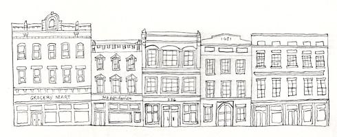 diminutive row of city buildings