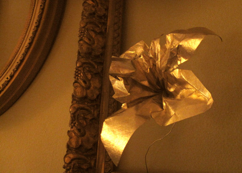 paper flower of funeral paper- metallic gold