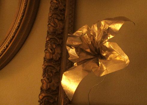 paper flower of funeral paper- metallic gold
