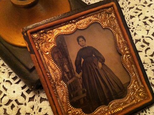 Framed tintype photograph