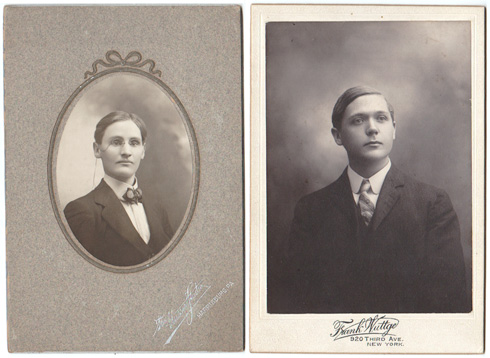 Edwardian or Victorian cabinet card portraits