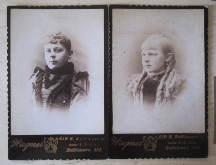 Two old cabinet card photos of young women