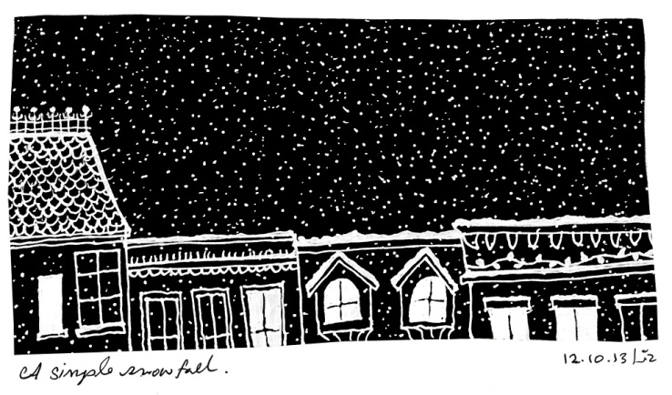 drawing of snow and buildings