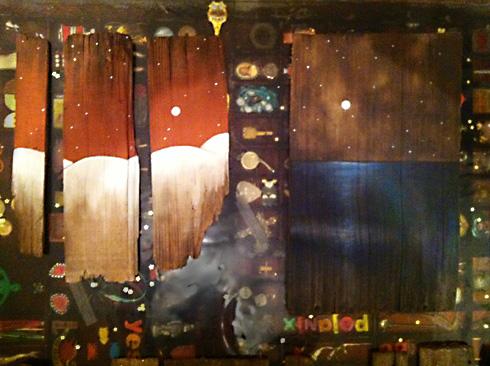 oil painting on cedar shakes