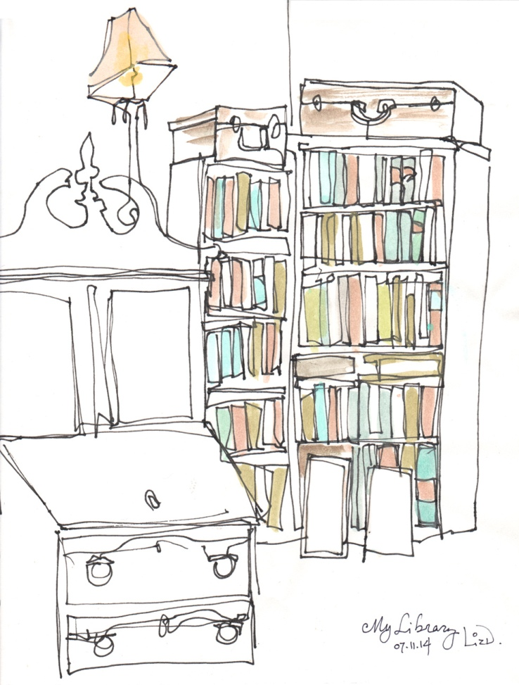 contour drawing of library