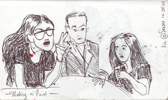 Bar people in a sketch, Brooklyn