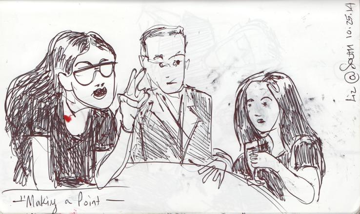 Bar people in a sketch, Brooklyn