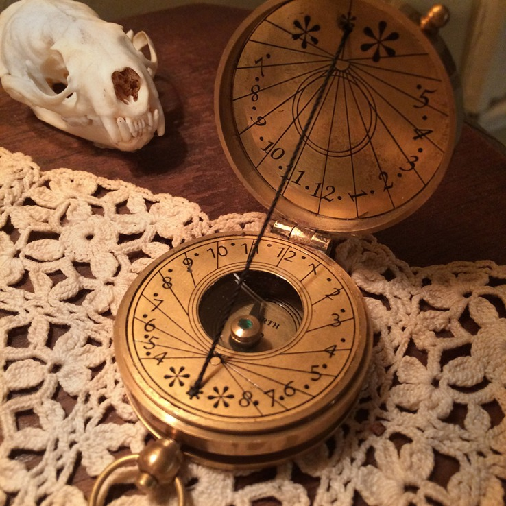 Compass and pocket sundial