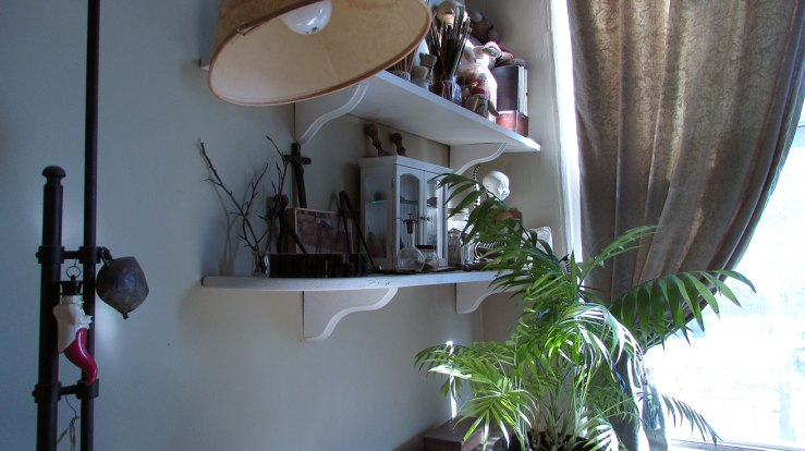 window, shelves, and lamp