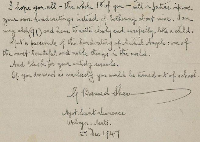 George Bernard Shaw's handwriting