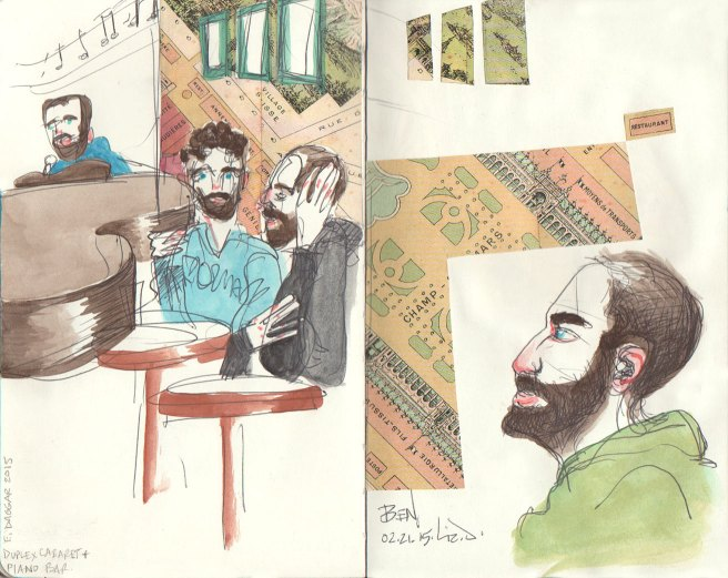 Sketches revisited with watercolor, collage