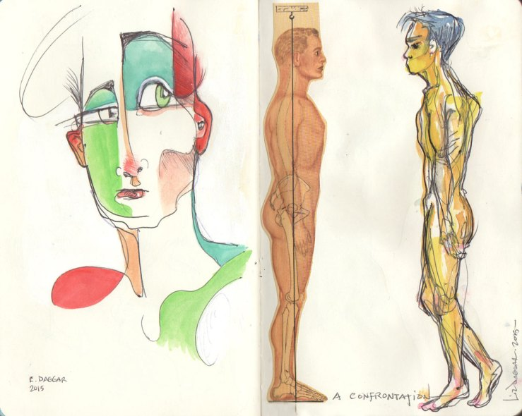 Sketches with watercolor