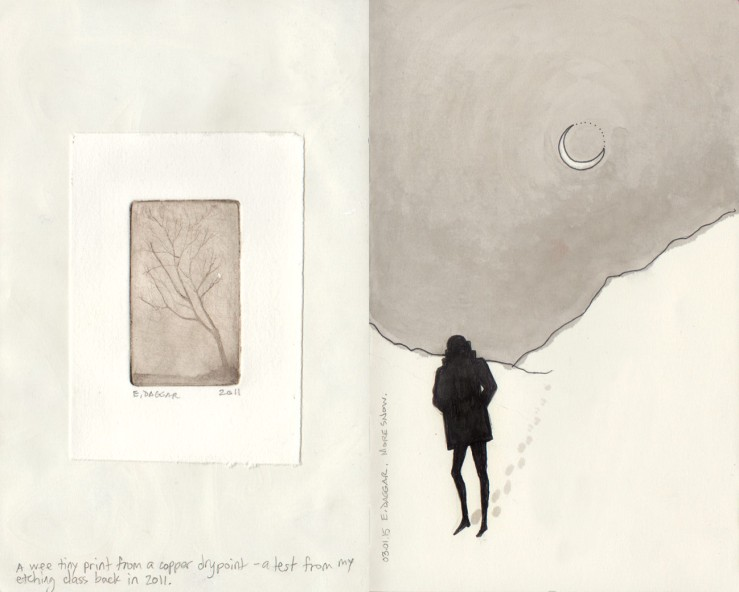 A tiny drypoint print and a sketch